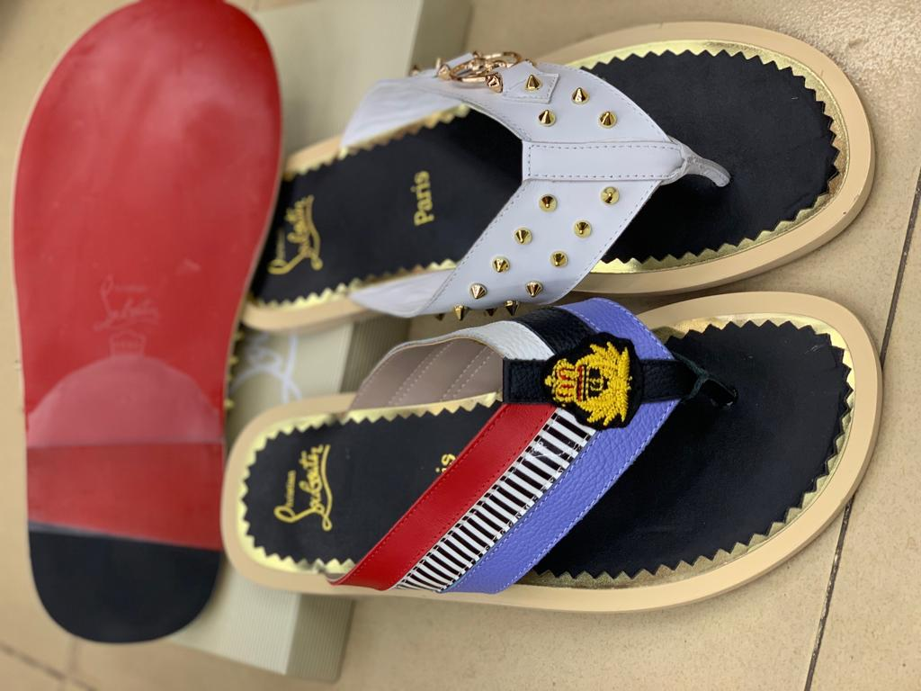 High quality designer leather slippers
