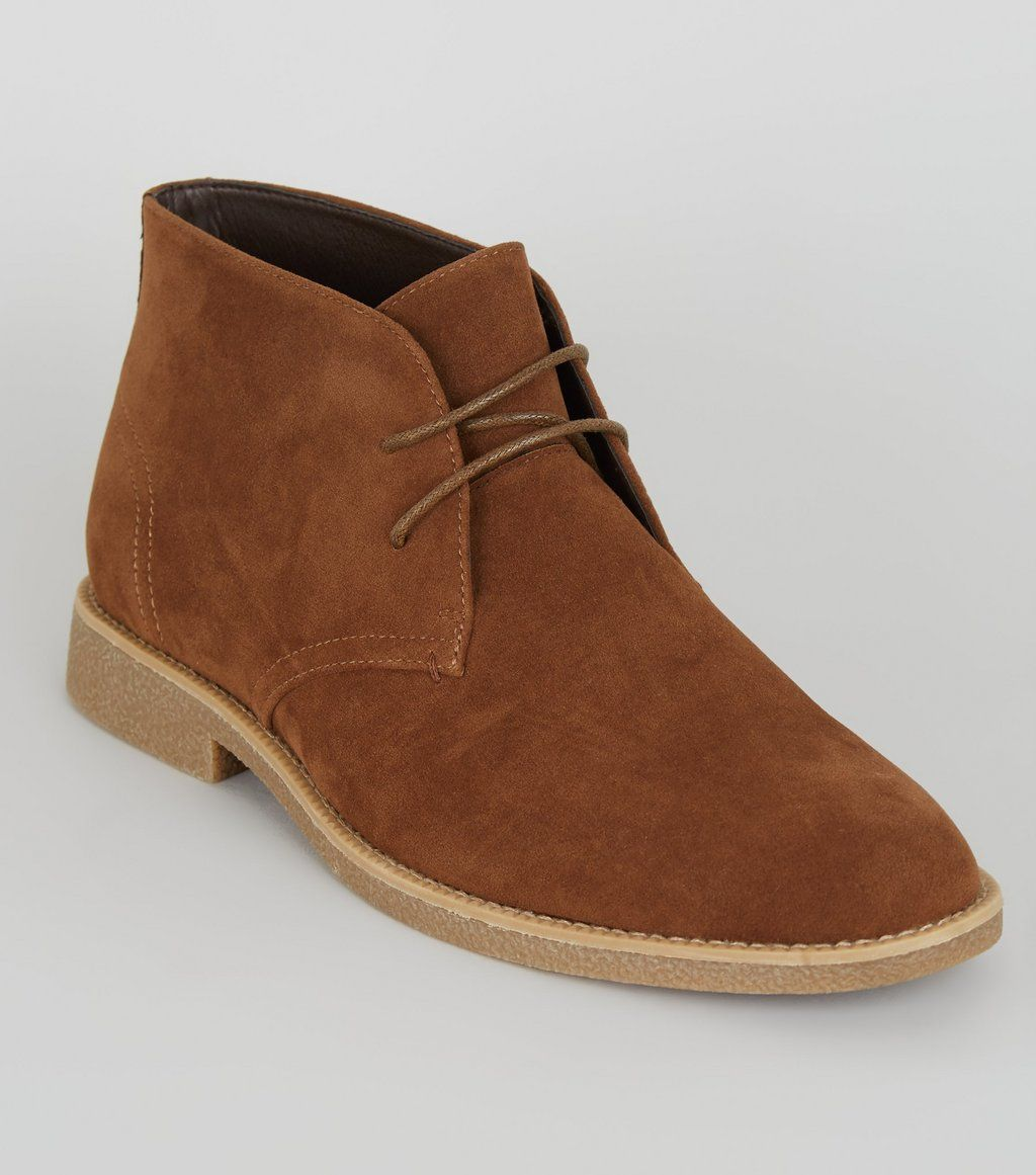 Newlook Men ankle boot shoe – Brown suede